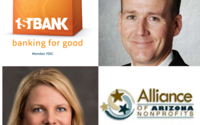 FirstBank Phoenix Market President Bryce Lloyd and Jennifer Purcell with Alliance of Arizona Nonprofits