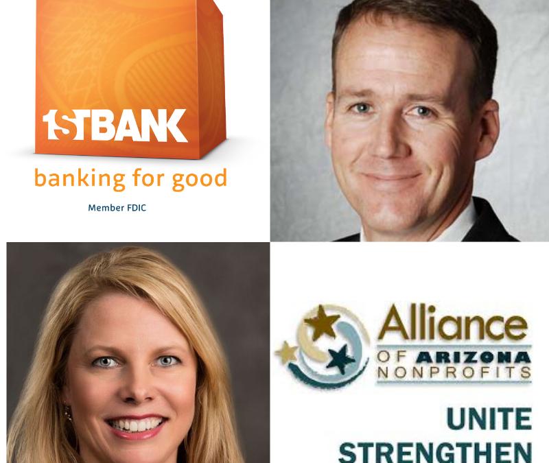 FirstBank Phoenix Market President Bryce Lloyd and Jennifer Purcell with Alliance of Arizona Nonprofits